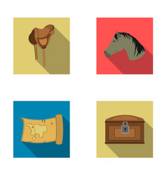Head of a horse a saddle a treasure map a chest vector
