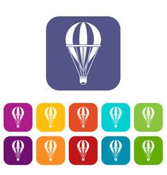 Hot air striped balloon icons set flat vector