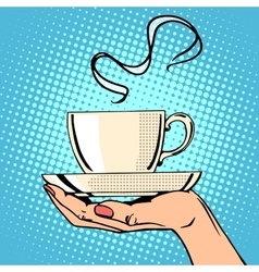 Hot coffee cup woman hand vector