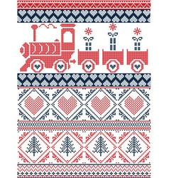 Nordic christmas pattern with gravy train vector