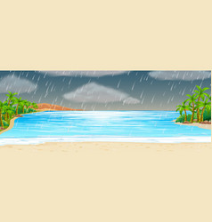 Ocean scene with rainstorm vector