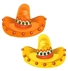 Orange and yellow sambrero in cartoon style vector