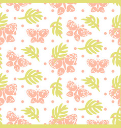 Pink palm leaves and butterflies seamless vector