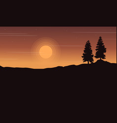 Silhouette of tree on hill landscape vector