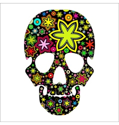skull in flowers vector image