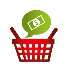 Speech bubble with basket shopping commercial icon vector