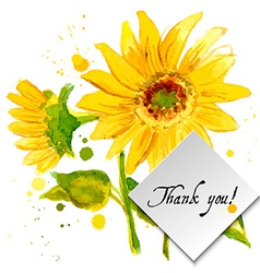 The composition of yellow sunflower painted in vector image vector image