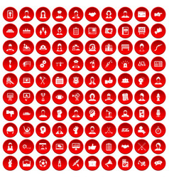 100 team work icons set red vector image
