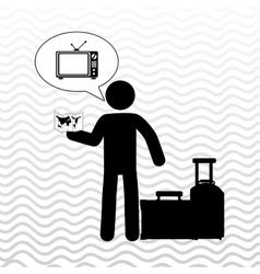 traveler silhouette suitcase vector image