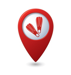 Map pointer with flippers icon vector