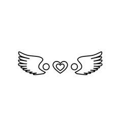 love card with heart and wings vector image