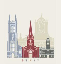 Derby skyline poster vector