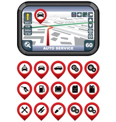 GPS navigator with the pointer autoservice vector image