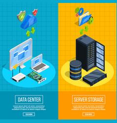 Server hardware vertical banners vector
