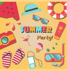 Summer holiday vacation party poster flat vector