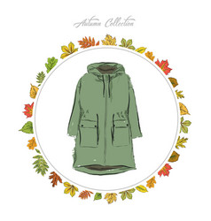 jacket hand draw clothes autumn collection frame vector image