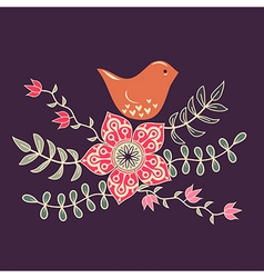 Bird in flowers vector