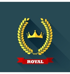 With laurel wreath and crown in flat design with vector