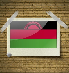 Flags malawi at frame on a brick background vector