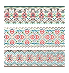 Embroidered handmade stitch ukraine ethnic pattern vector