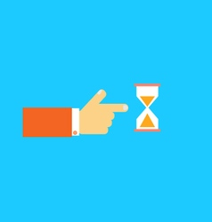 Mens hand pointing to the hourglass vector