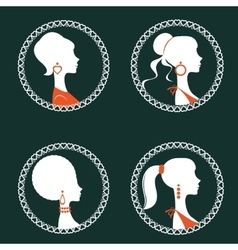 Beautiful elegant women silhouettes set vector image