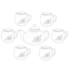 Teapot and cups contours vector