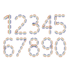 Set of ten numbers made in rainbow colors vector