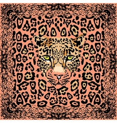 Pattern with a muzzle of a leopard vector