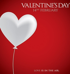 Heart balloon valentines day card in format vector
