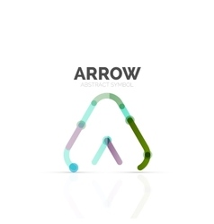 Linear arrow abstract logo connected multicolored vector
