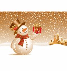 snowman with gift for you vector image