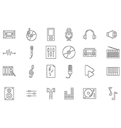Music black icons set vector