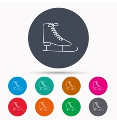 Ice skates icon figure skating equipment sign vector