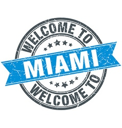 Welcome to miami blue round vintage stamp vector