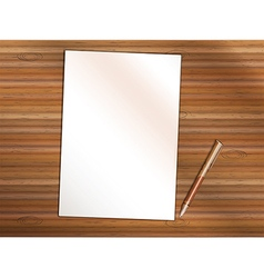 Blank sheet of paper with pen on wooden table vector