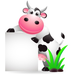 Cow cartoon with blank sign vector