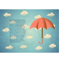 Aged vintage card with umbrella vector