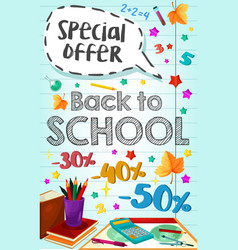 Back to school poster special promo sale vector