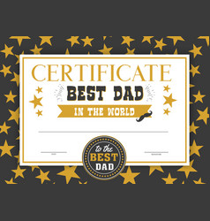 best dad in the world certificate vector image