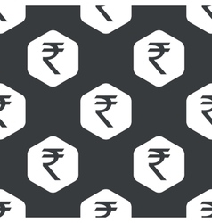 Black hexagon rupee pattern vector