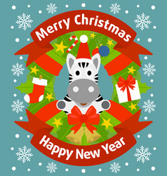 christmas and new year background card with zebra vector image vector image