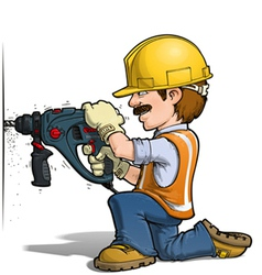 Construction workers drilling vector