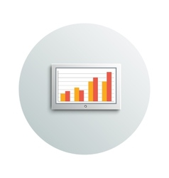 Detailed modern led tv hanging monitor with chart vector image