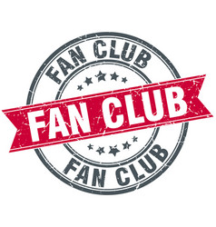 fan club round grunge ribbon stamp vector image vector image