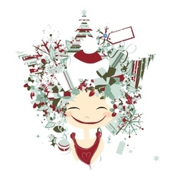 Female portrait with hairstyle for christmas vector image vector image