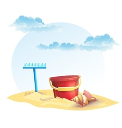 For childrens sand bucket and a rake with shell vector
