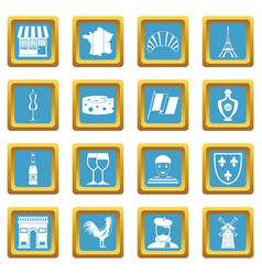 France travel icons azure vector