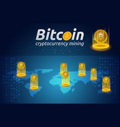 Golden bitcoin in shining light effect on world vector