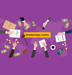 international courts concept discussion in a vector image vector image